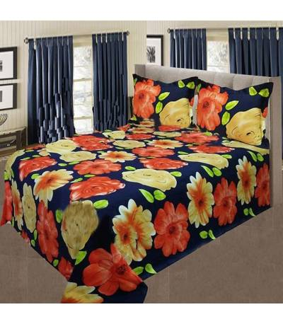 Home Tex Blue Flower Bedsheet