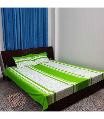 Home Tex White And Green Flower Bedsheet