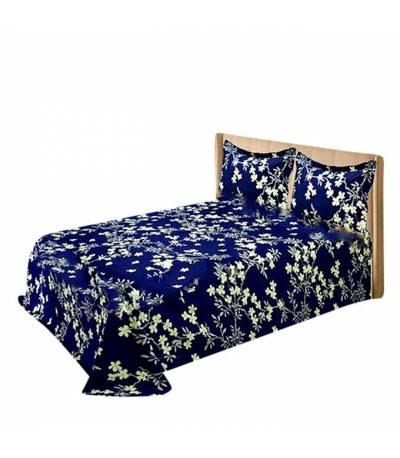 Home Tex Jasmine Flower Blue Bedsheet
