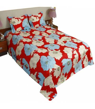 Home Tex Sun Flower Red Bedsheet