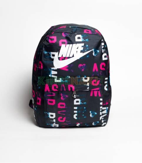 NIKE Dark Black Random White Letter Backpack