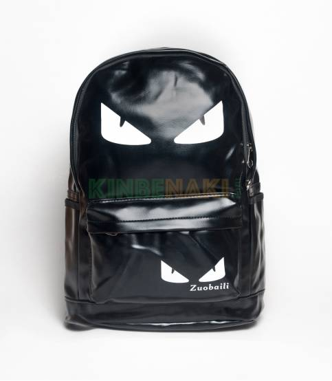 Eye Print Black PU Leather Backpack