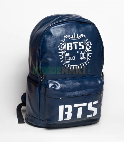 BTS PU Leather Blue Backpack