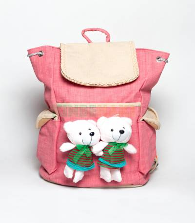 Two Cute Bear Shadow Pink Girls Backpack