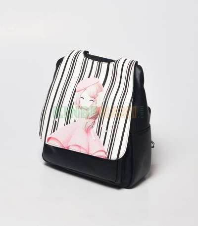 Sheng Cute Little Doll Black Mini Backpack