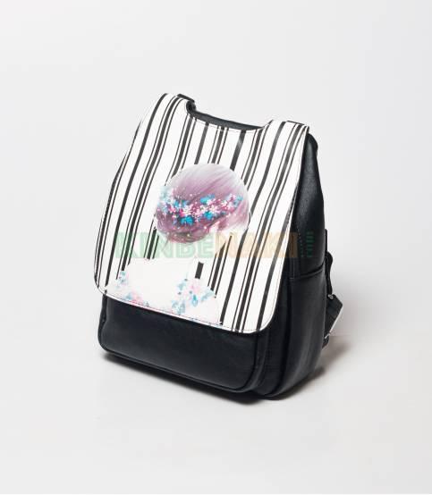 Sheng Cute Little flowers Girls Black Mini Backpack