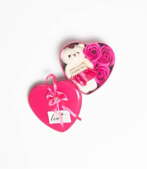 Heart Shape Dark Pink Gift Box With Flower And Teddy Bear (Medium)