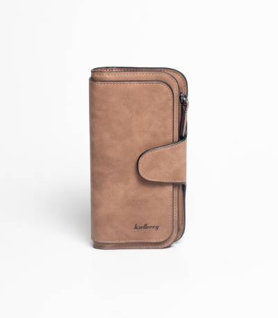Baellery Leather Coffee Long Wallet