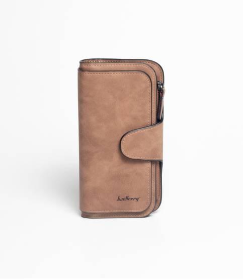 Baellery Leather Coffee Long Wallet