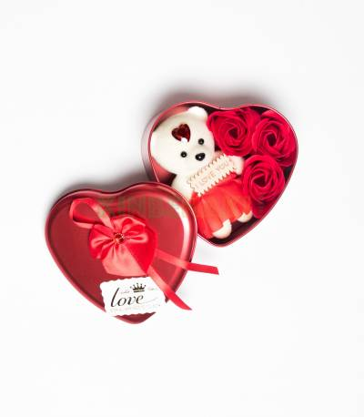 Heart Shape Gift Box With Flower And Teddy Bear (Large)