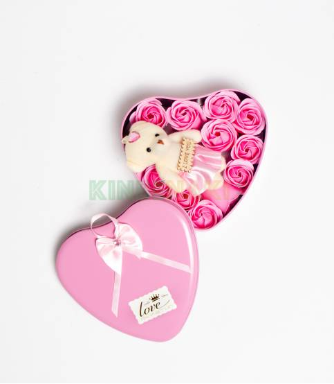Heart Shape Pink Gift Box With Flower And Teddy Bear (Large)