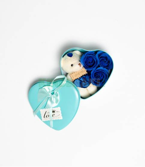 Heart Shape Sayan Gift Box With Flower And Teddy Bear (Medium)