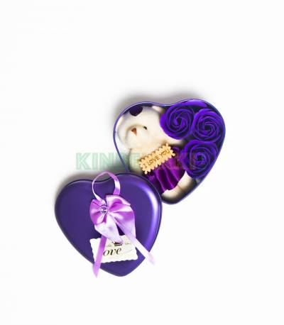 Heart Shape Purple Gift Box With Flower And Teddy Bear (Medium)