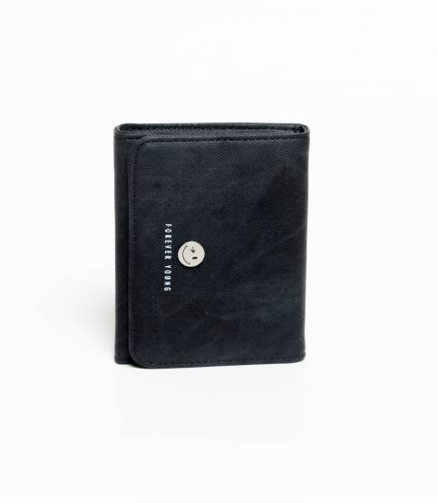 Forever Young Smiley Leather Wallet Black