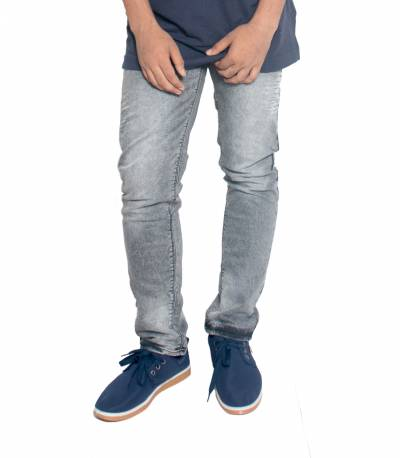 Grey Stretch Denim Jeans For Men