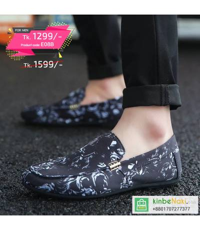 Men's Black Shoe With White Floral Design