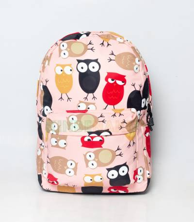 Multicolor Owl Light Pink Girls Backpack