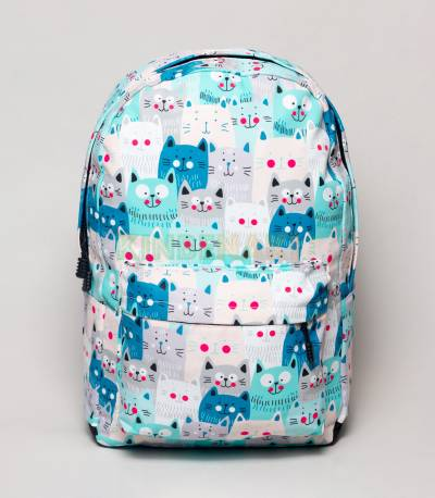 Multicolor Cat Paste & Blue Girls Backpack