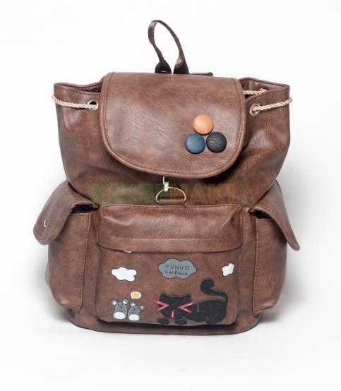 Cat & Bird Yunuo Brown Girls Backpack