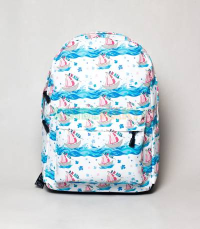River View White & Sky Blue Girls Backpack