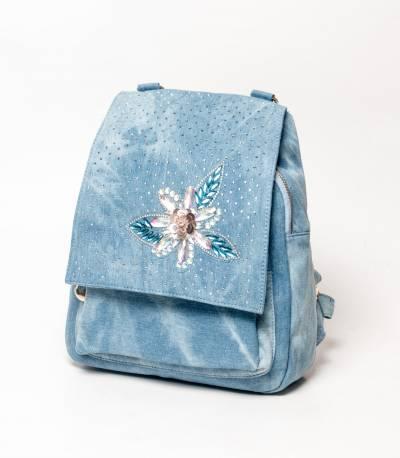 Denim Design Blue Girls Mini Backpack V2