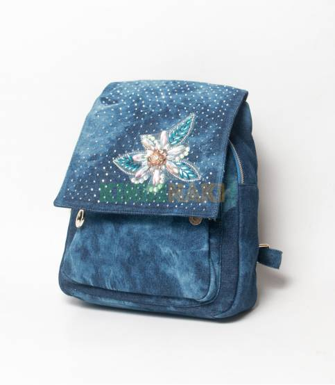 Denim Design Dark Blue Girls Mini Backpack V2