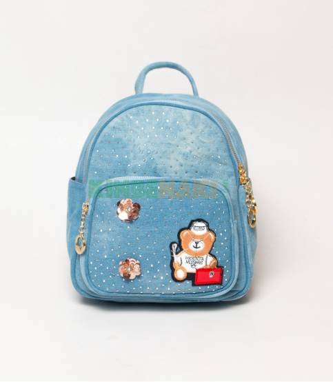 Denim Design Cute Teddy Bear Sky Blue Girls Mini Backpack