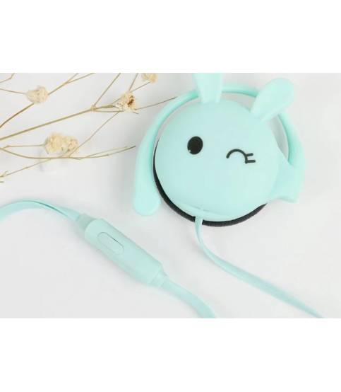 Rabbit Ear Hook white Earphones KN-313