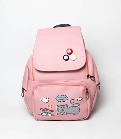 Cat & Bird Yunuo Pink Girls Backpack