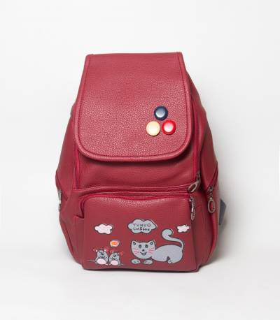 Cat & Bird Yunuo Maroon Color Girls Backpack