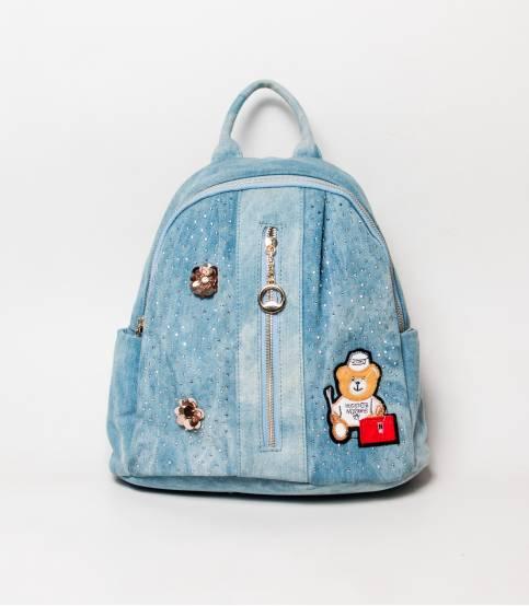 Denim Design Cute Teddy Bear Sky Blue Girls Mini Backpack V2