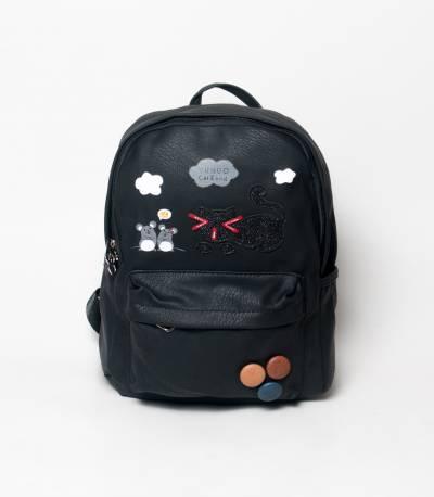 Cat & Bird Yunuo Black Girls Mini Backpack