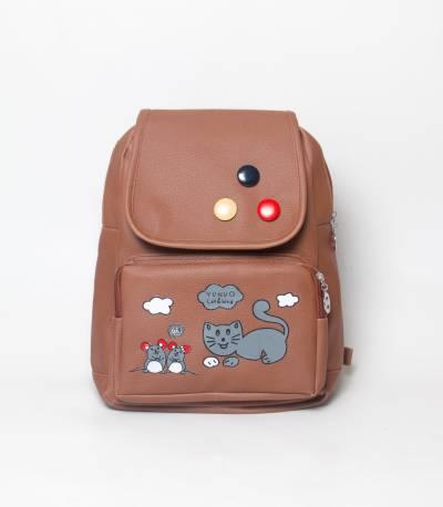 Cat & Bird Yunuo Brown Color Girls Mini Backpack V2