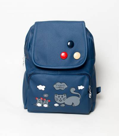 Cat & Bird Yunuo Dark Navy Blue Girls Mini Backpack V2