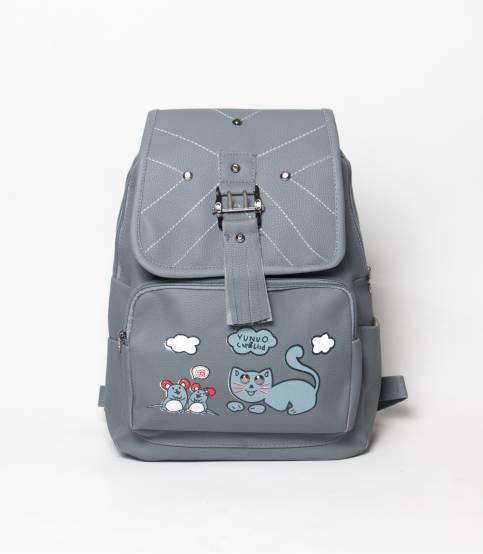 Cat & Bird Yunuo Gray Color Girls Backpack