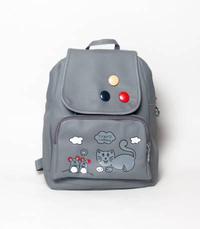 Cat & Bird Yunuo Gray Color Girls Mini Backpack