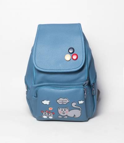 Cat & Bird Yunuo Light Blue Color Girls Backpack