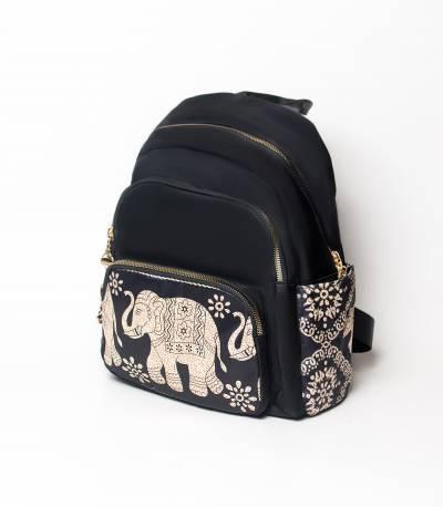 Elephant Print Black Color Girls Mini Backpack