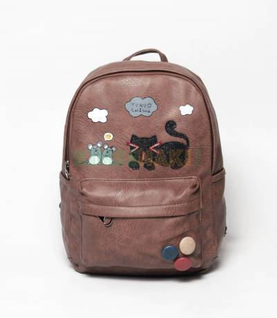 Cat & Bird Yunuo Brown Girls Mini Backpack