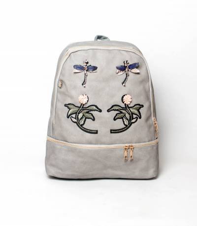 Flower Gray Color Backpack