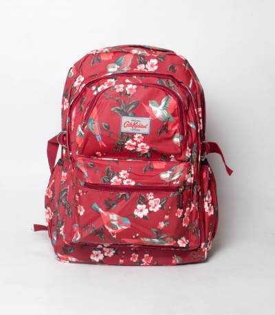 Flower & Bird Maroon Color Backpack