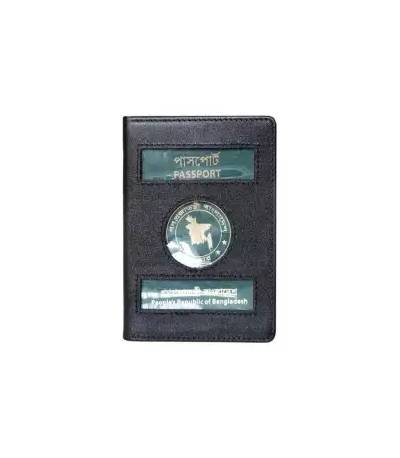 Leather Passport Cover Holder (Black)