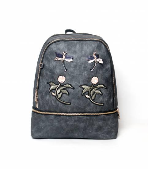 Flower Black Color Backpack