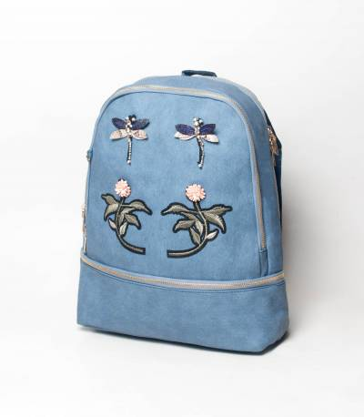 Butterfly & Flower Blue Backpack V2