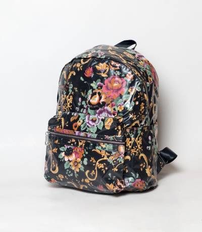 Fortune Back & Multicolor Flower Design Girls Mini Backpack