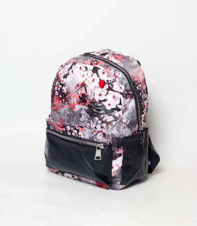 Black & White Flower Design Girls Mini Backpack