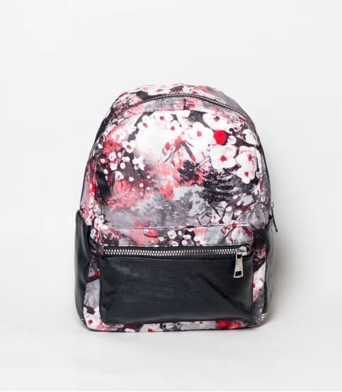 Black & White Flower Design Girls Mini Backpack