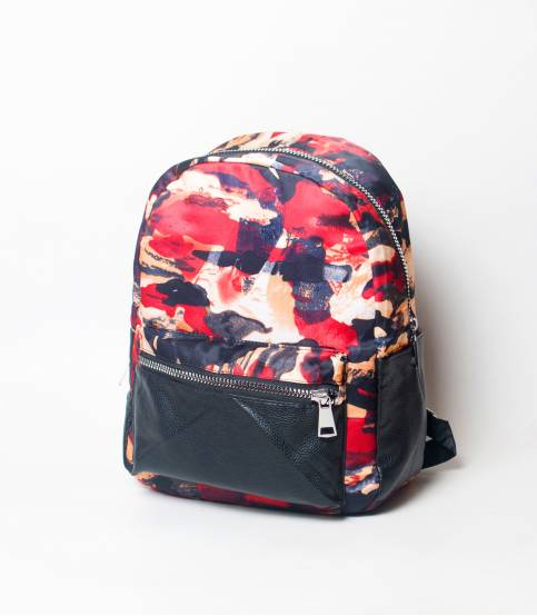 Black & Red Abstract Girls Mini Backpack