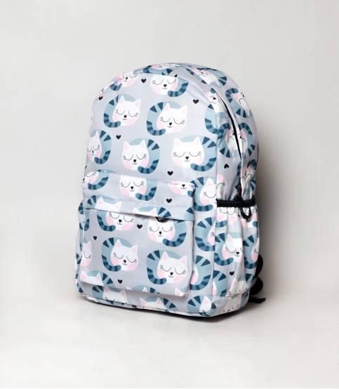 Multicolor Cat Light White & Purple Girls Backpack