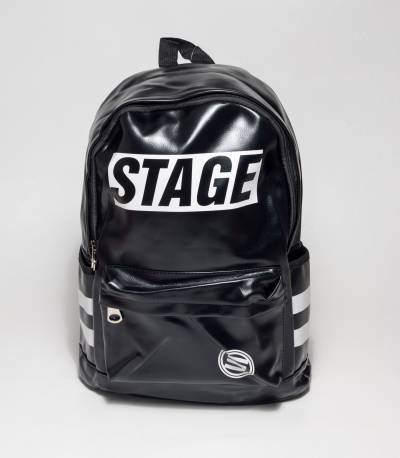 Stage Black Rexine Backpack